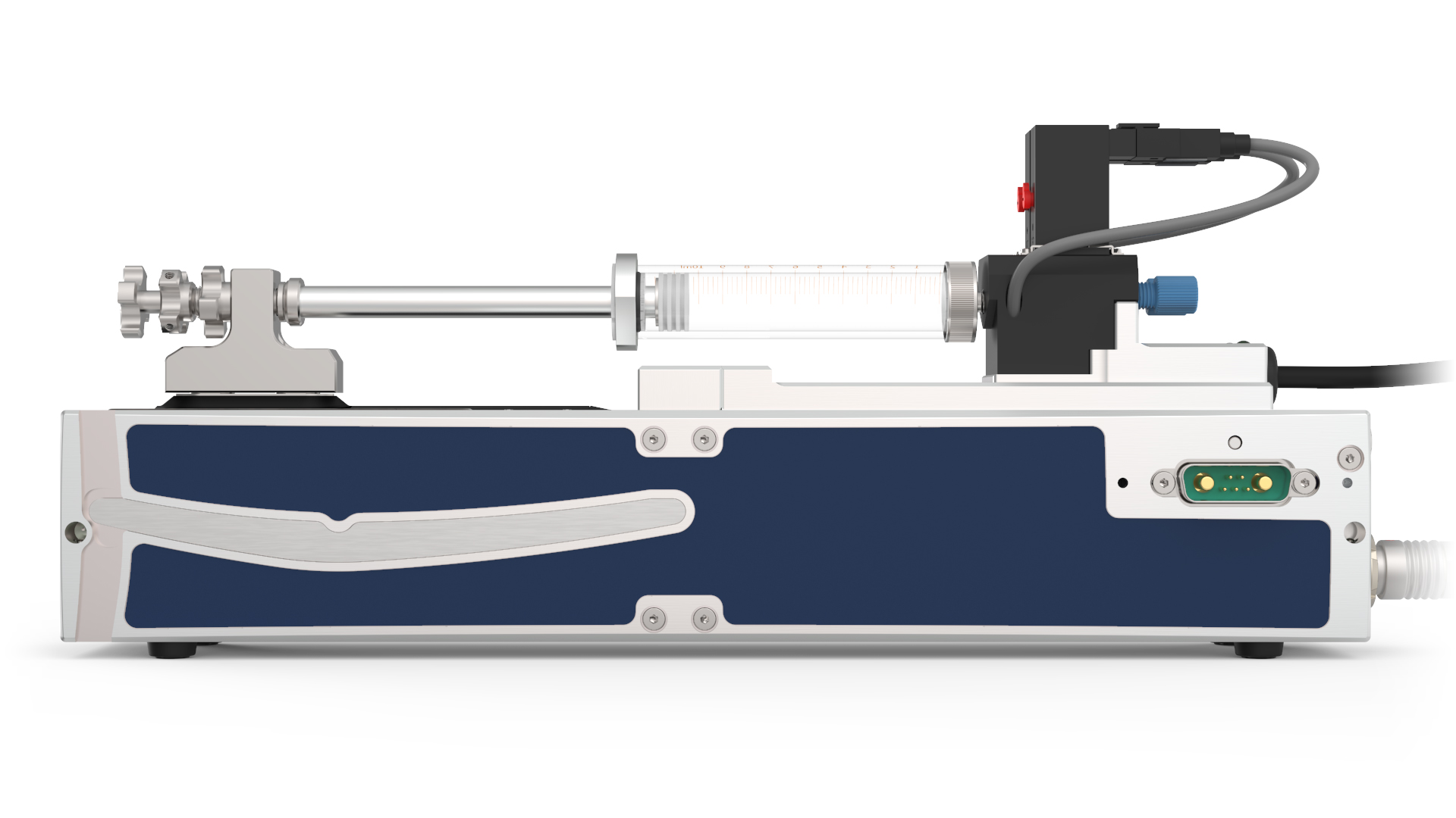 Nemesys S with glass syringe, side view