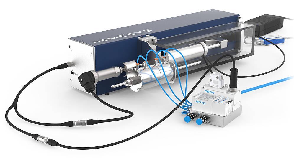 Nemesys Ultra-High pressure syringe pumps with valve and pressure sensor